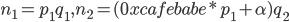 n_1 = p_1 q_1, n_2 = (0xcafebabe * p_1 + \alpha)q_2