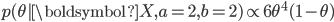 p(\theta | \boldsymbol{X}, a=2, b=2) \propto 6 \theta^{4} (1 - \theta)
