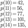 p(10)=42, \\p(11)=56,\\ p(12)=77, \\ p(13)=101,\\ p(14)=135,
