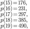 p(15)=176, \\ p(16)=231,\\ p(17)=297,\\ p(18)=385,\\ p(19)=490,