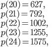 p(20)=627, \\ p(21)=792,\\ p(22)=1002,\\ p(23)=1255,\\ p(24)=1575,