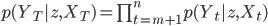 p(Y_T|z, X_T) = \prod_{t=m+1}^n p(Y_t | z, X_t)