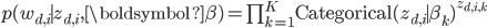 p(w _ {d,i} \mid z _ {d, i}, \boldsymbol{\beta}) = \prod _ {k=1} ^{K} {\rm Categorical} (z _ {d, i} \mid \beta _ k) ^ {z _ {d, i, k}}
