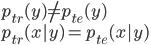 p_{tr}(y) \neq p_{te}(y) \\ p_{tr}(x y) = p_{te}(x y)
