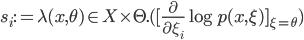s_i := \lambda(x, \theta)\in X \times \Theta.([\frac{\partial}{\partial \xi_i} \log p(x, \xi)]_{\xi = \theta} )