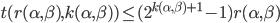 t(r(\alpha, \beta), k(\alpha, \beta)) \le (2^{k(\alpha, \beta)+1}-1)r(\alpha, \beta)