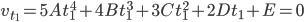 v_{t_1} = 5A t_1^4 + 4B t_1^3 + 3C t_1^2 + 2D t_1 + E = 0