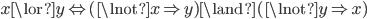 x \lor y \Leftrightarrow (\lnot x \Rightarrow y) \land (\lnot y \Rightarrow x)
