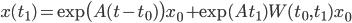 x(t_1) = \exp \bigl( A(t-t_0) \bigr) x_0 + \exp(A t_1) W(t_0, t_1) x_0