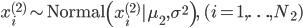 x^{(2)}_i \sim \mathrm{Normal}\left( x^ {(2)} _ i   \mu_2, \sigma^ 2 \right), \quad (i=1,\ldots,N_2)