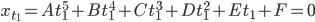 x_{t_1} = A t_1^5 + B t_1^4 + C t_1^3 + D t_1^2 + E t_1 + F = 0