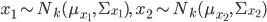 x_1 \sim N_k (\mu_{x_1}, \, \Sigma_{x_1}), \; x_2 \sim N_k (\mu_{x_2}, \, \Sigma_{x_2})