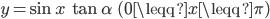 y = \sin{x}\ \tan{\alpha} \ \ ( 0 \leqq x \leqq \pi)