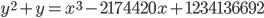 y^2 + y = x^3 - 2174420x + 1234136692