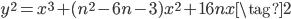 y^2 = x^3 + (n^2 - 6n - 3)x^2 + 16nx  \tag{2}