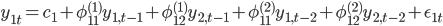y_{1t} = c_1 + \phi^{(1)}_{11} y_{1,t-1} + \phi^{(1)}_{12} y_{2,t-1} + \phi^{(2)}_{11} y_{1,t-2} + \phi^{(2)}_{12} y_{2,t-2} + \epsilon_{1t}