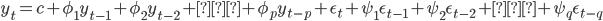 y_{t}=c+\phi_1 y_{t-1}+\phi_2 y_{t-2}+…+\phi_p y_{t-p}+\epsilon_{t}+\psi_1 \epsilon_{t-1}+\psi_2 \epsilon_{t-2}+…+\psi_q \epsilon_{t-q}