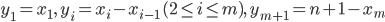 y_1= x_1,\ y_i=x_i-x_{i-1}\,(2\leq i\leq m),\ y_{m+1}=n+1-x_m