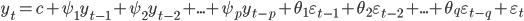y_t = c + \psi_1 y_{t-1} + \psi_2 y_{t-2} + ... + \psi_py_{t-p} + \theta_1 \varepsilon_{t-1} + \theta_2 \varepsilon_{t-2} + ... + \theta_q \varepsilon_{t-q} + \varepsilon_t