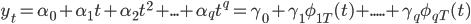 y_t=\alpha_0+\alpha_1 t+\alpha_2 t^2+...+\alpha_q t^q=\gamma_0+\gamma_1  \phi_{1T}(t)+.....+\gamma_q  \phi_{qT}(t)