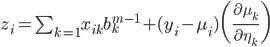 z_i = \sum_{k=1} x_{ik} b_k^{m-1} + (y_i - \mu_i)\bigg( \frac{\partial \mu_k}{\partial \eta_k} \bigg)