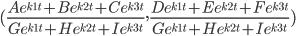(\frac{Ae^{k1t}+Be^{k2t}+Ce^{k3t}}{Ge^{k1t}+He^{k2t}+Ie^{k3t}},\frac{De^{k1t}+Ee^{k2t}+Fe^{k3t}}{Ge^{k1t}+He^{k2t}+Ie^{k3t}})