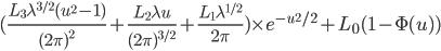 (\frac{L_3\lambda^{3/2}(u^2-1)}{(2\pi)^2} + \frac{L_2\lambda u}{(2\pi)^{3/2}} + \frac{L_1 \lambda^{1/2}}{2\pi})\times e^{-u^2/2} + L_0(1-\Phi(u))