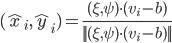 (\hat x_i,\hat y_i)=\frac{(\xi,\psi)\cdot(v_i-b)}{||(\xi,\psi)\cdot(v_i-b)||}