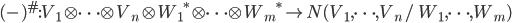 (\mbox{-})^{\#} : V_1 \otimes \cdots \otimes V_n \otimes {W_1}^* \otimes \cdots \otimes {W_m}^* \to N(V_1, \cdots, V_n/\; W_1, \cdots, W_m)
