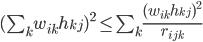 (\sum_k w_{ik} h_{kj})^2 \leq \sum_k \frac{(w_{ik}h_{kj})^2}{r_{ijk}}