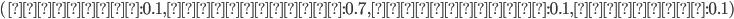 (①左端:0.1, ②中央左:0.7, ③中央右:0.1, ④右端:0.1)