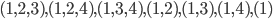(1,2,3),(1,2,4),(1,3,4),(1,2),(1,3),(1,4),(1)