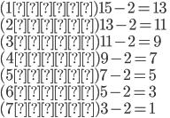 (1回目)15-2=13\\(2回目)13-2=11\\(3回目)11-2=9\\(4回目)9-2=7\\(5回目)7-2=5\\(6回目)5-2=3\\(7回目)3-2=1
