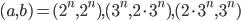 (a ,b)=(2^n, 2^n), (3^n, 2\cdot3^n), (2\cdot3^n, 3^n)
