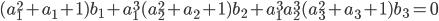 (a_1^2+a_1+1)b_1+a_1^3(a_2^2+a_2+1)b_2+a_1^3a_2^3(a_3^2+a_3+1)b_3=0
