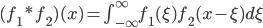 (f_1 * f_2)(x) = \int_{-\infty}^{\infty} f_1(\xi) f_2(x-\xi) d \xi