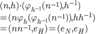 (n,h)\cdot(\varphi_{h^{-1}}(n^{-1}), h^{-1})\\=(n\varphi_{h}(\varphi_{h^{-1}}(n^{-1})),hh^{-1})\\ =(nn^{-1},e_H)=(e_N, e_H)