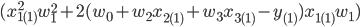 (x_{1(1)}^2w_{1}^2+2(w_0+w_2x_{2(1)}+w_3x_{3(1)}-y_{(1)})x_{1(1)}w_1)