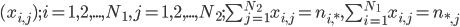 (x_{i,j});i=1,2,...,N_1,j=1,2,...,N_2;\sum_{j=1}^{N_2} x_{i,j}=n_{i,*},\sum_{i=1}^{N_1} x_{i,j}=n_{*,j}
