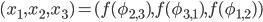 (x_1,x_2,x_3)=(f(\phi_{2,3}),f(\phi_{3,1}),f(\phi_{1,2}))