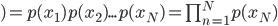)=p(x_1)p(x_2)...p(x_N)=\prod_{n=1}^Np(x_N)