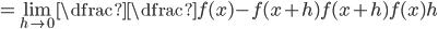 = \displaystyle\lim_{h\to 0}\dfrac{\dfrac{f(x)-f(x+h)}{f(x+h)f(x)}}{h}