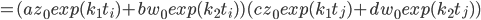 =(a z_0 exp(k_1t_i)+b w_0 exp(k_2t_i))(c z_0 exp(k_1t_j)+d w_0 exp(k_2t_j))