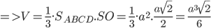 =>V=\frac{1}{3}.S_{ABCD}.SO=\frac{1}{3}.a^2.\frac{a\sqrt{2}}{2}=\frac{a^3\sqrt{2}}{6}