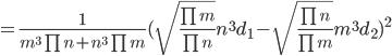 =\frac{1}{m^3\prod n +n^3 \prod m}(\sqrt{\frac{\prod m}{\prod n}}n^3 d_1-\sqrt{\frac{\prod n}{\prod m}}m^3 d_2)^2