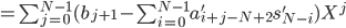 =\sum_{j=0}^{N-1} (b_{j+1} - \sum_{i=0}^{N-1} a'_{i+j-N+2} s'_{N-i}) X^j