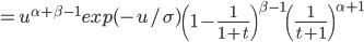 =u^{\alpha + \beta-1}exp(-u/\sigma)\left(1-\frac{1}{1+t}\right)^{\beta-1}\left(\frac{1}{t+1}\right)^{\alpha+1}