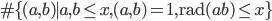 \#\{(a,b) \mid a,b \leq x, (a,b)=1, \mathrm{rad}(ab) \leq x\}