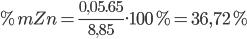 \% mZn = {{0,05.65} \over {8,85}}.100\% = 36,72\%