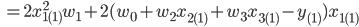 \,\,\,=2x_{1(1)}^2w_{1}+2(w_0+w_2x_{2(1)}+w_3x_{3(1)}-y_{(1)})x_{1(1)}